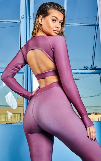 Mauve Elasticated Long Sleeve Cropped Gym Top