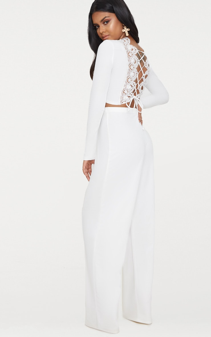 Petite White Lace Up Back Long Sleeve Crop Top  4