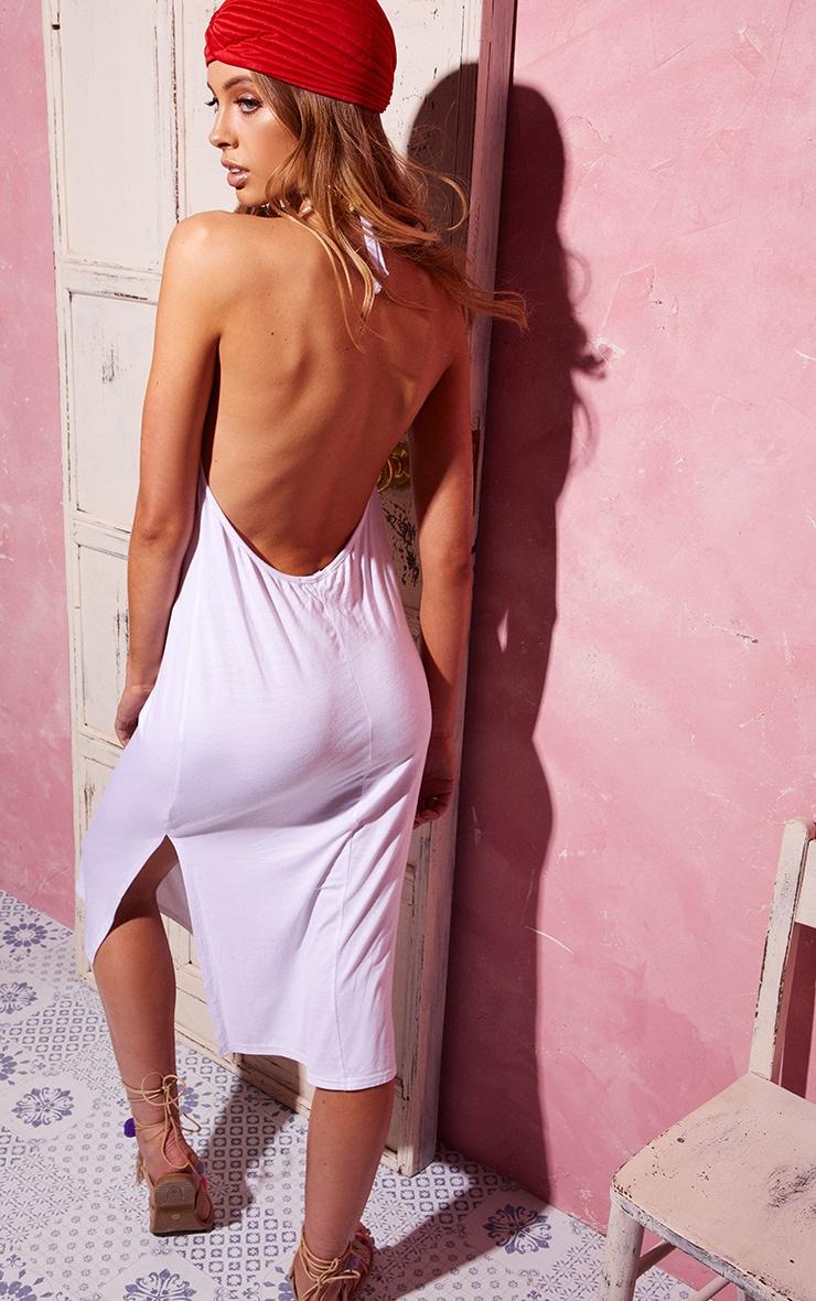White Backless Strappy Midi Dress 2