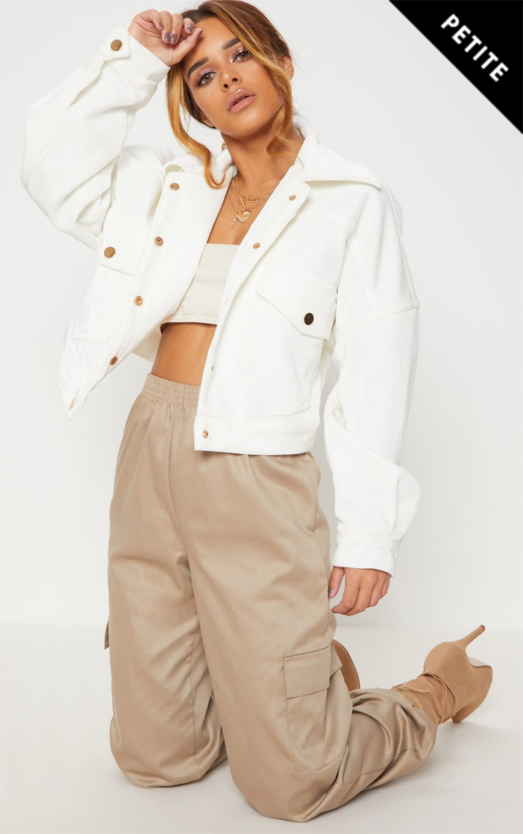 Petite White Cropped Cord Oversized Trucker Jacket