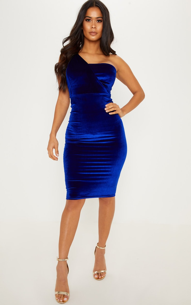 Cobalt Velvet Drape One Shoulder Midi Dress