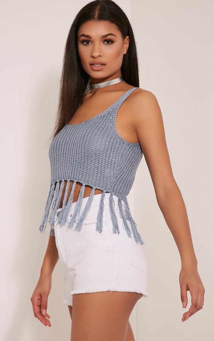 Marisol Dusty Blue Tassel Crochet Bralet 4