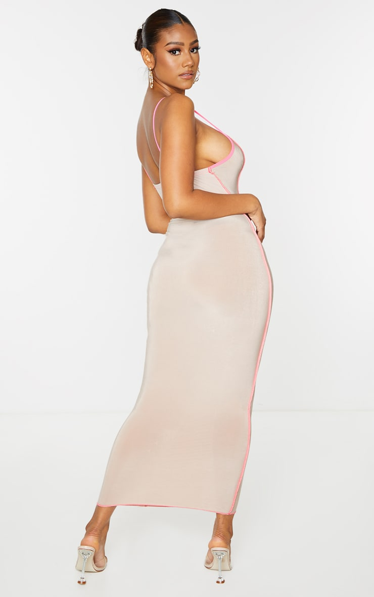 Nude Slinky Ruched Front Overlock Seam Midaxi Dress 2