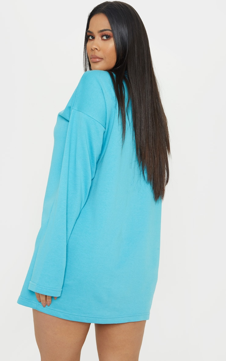 Bright Blue Ring Zip Front Jumper Dress 2