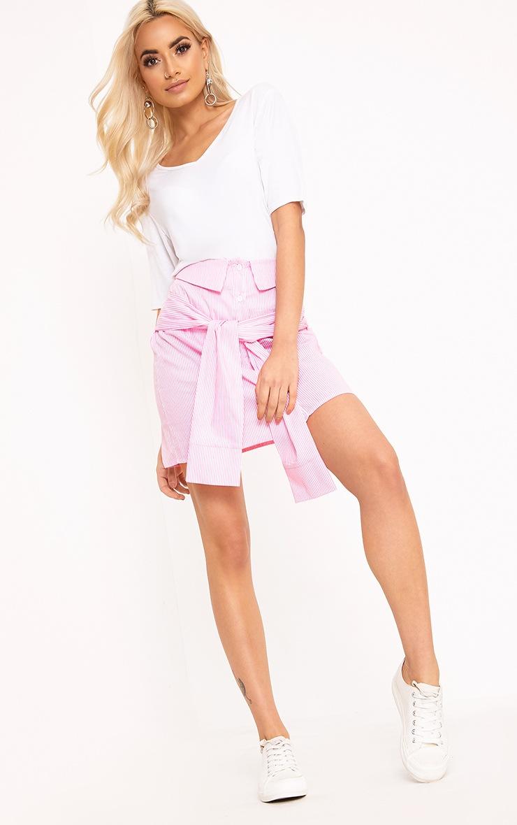 Bia Pink Pinstripe Shirt Skirt 4