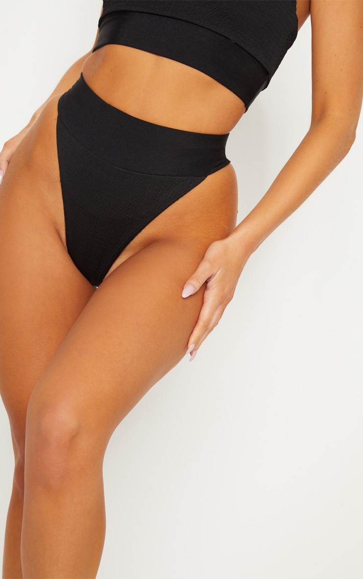 Black Crinkle Elasticated High Waisted Bottom 6