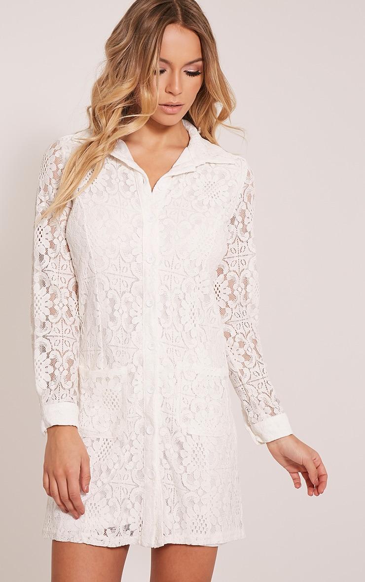 Nayah Cream Lace Shirt Dress 1