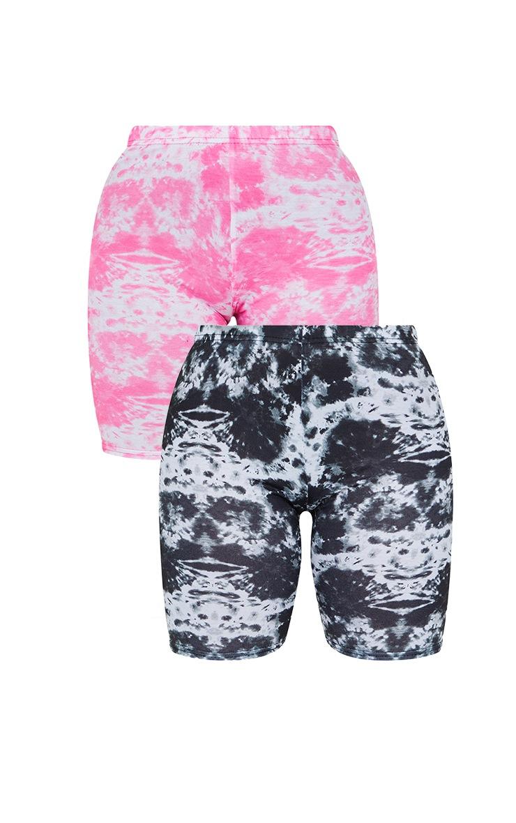 Petite Black And Pink Tie Dye Cycle Short Multi Pack 5