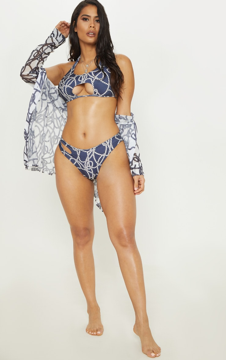 Navy Rope Print Cut Out Tie Bikini Top 4
