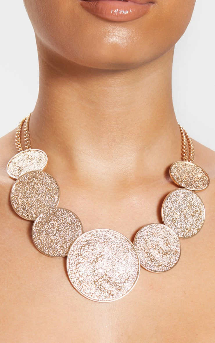 Gold Textured Multi Disc Necklace 2