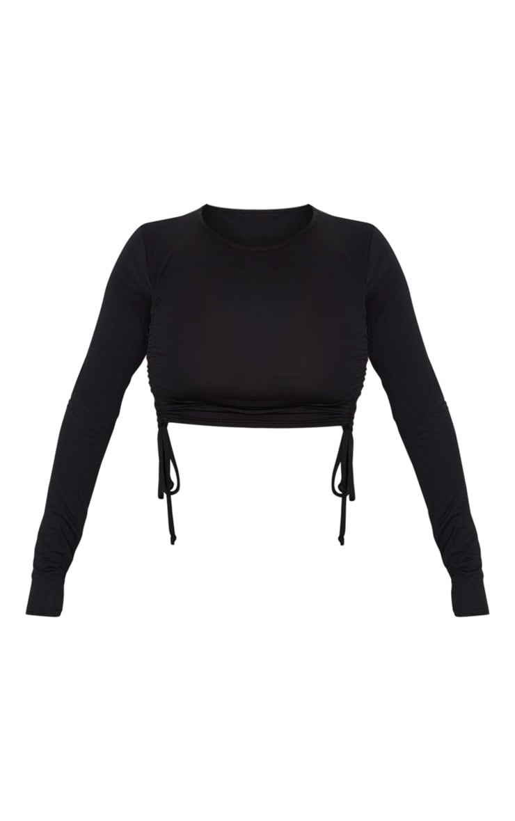 Black Ruched Jersey Front Crop Top 3
