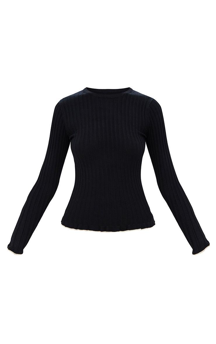 Black Frill Tip Fine Knit Jumper 3