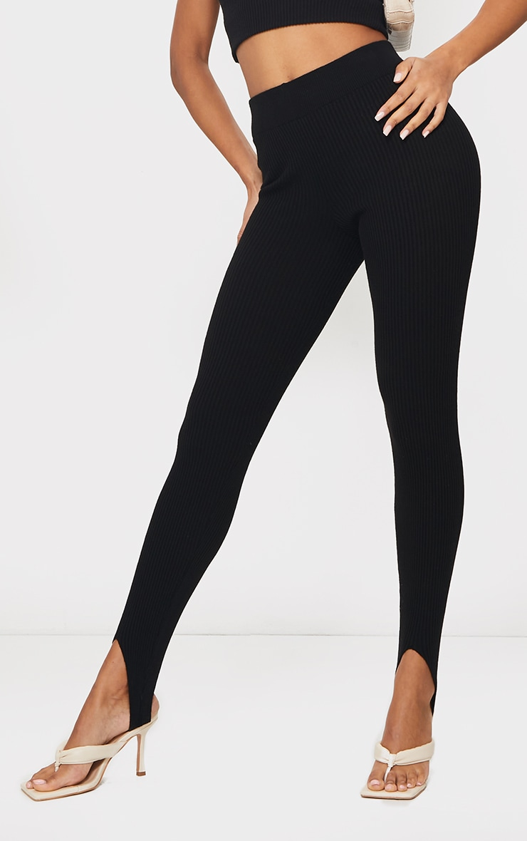Black Stirrup Ribbed Knitted Leggings 2