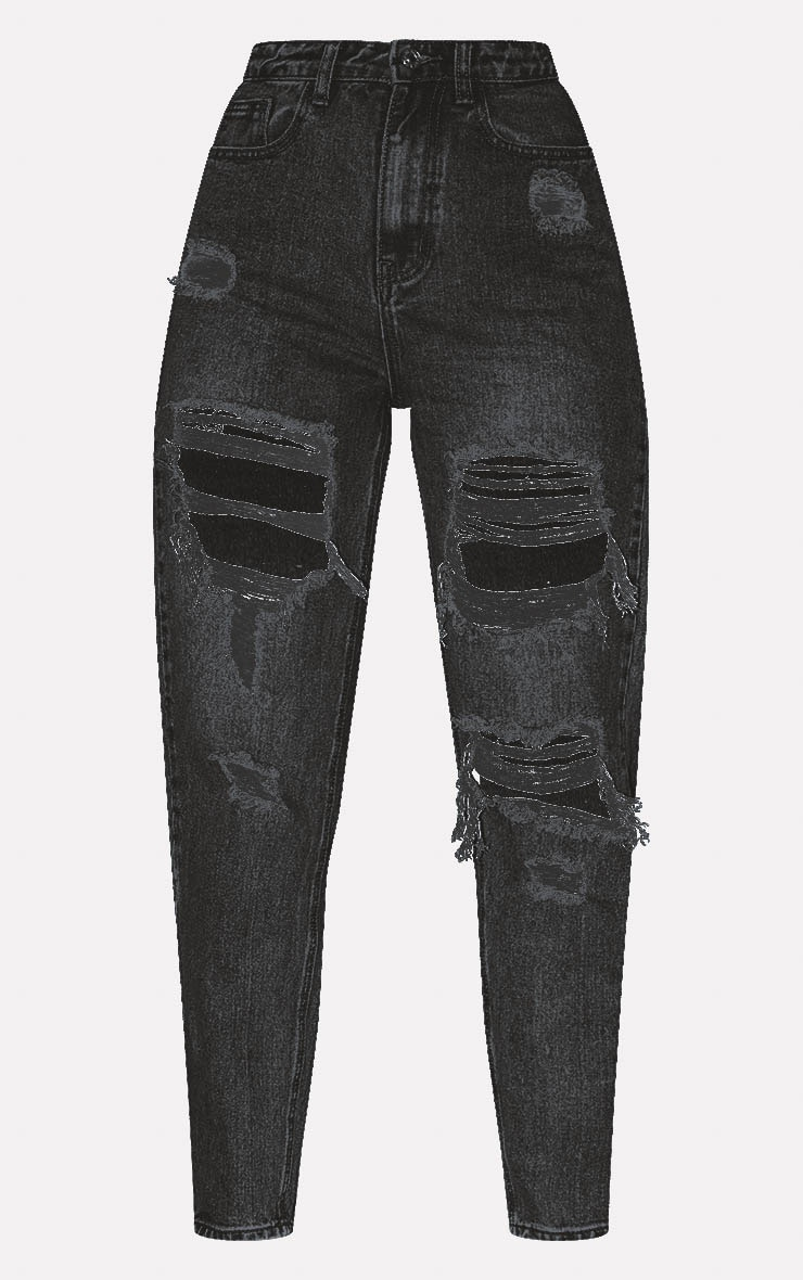 PRETTYLITTLETHING Washed Black Distressed Mom Jean 3