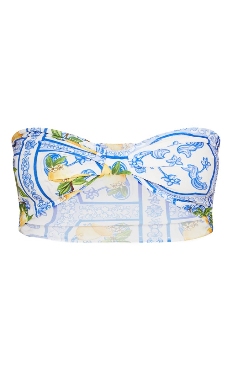 Blue Mosaic Lemon Print Bandeau Bralet  3