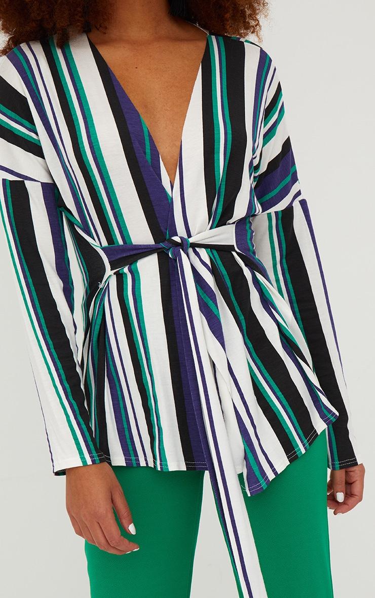 White Jersey Stripe Tie Waist Blouse  5