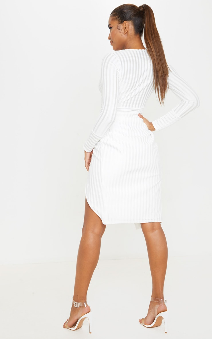 White Satin Stripe Wrap Midi Dress 2