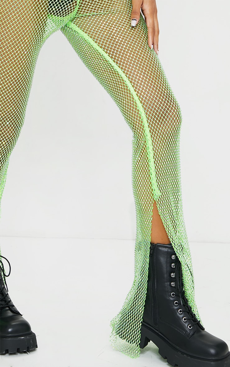 Lime Diamante Fishnet Split Hem Pants 4