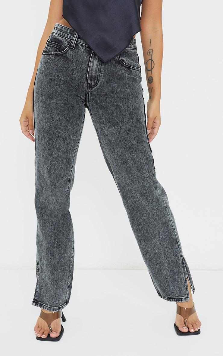 Petite Black  Low Rise Split Hem Jeans 2