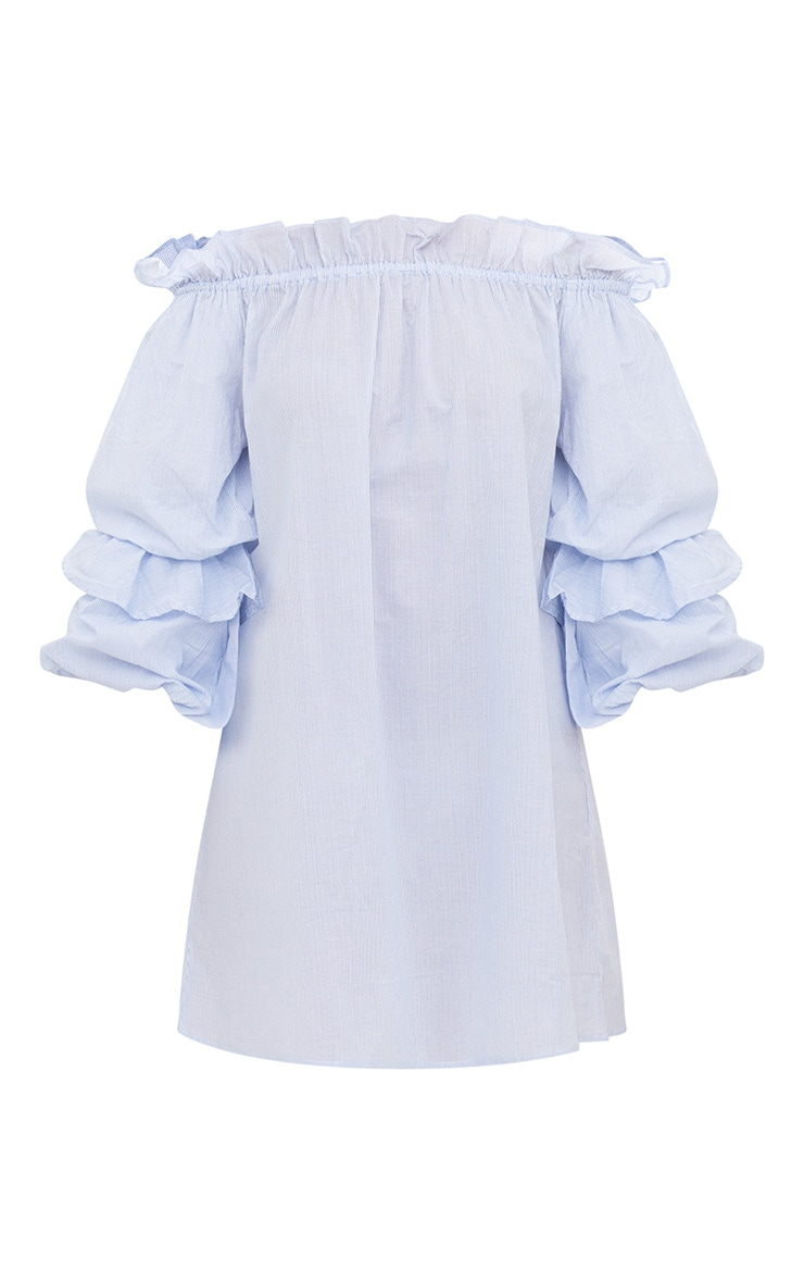 Blue Striped Frill Sleeve Detail Shift Dress 3