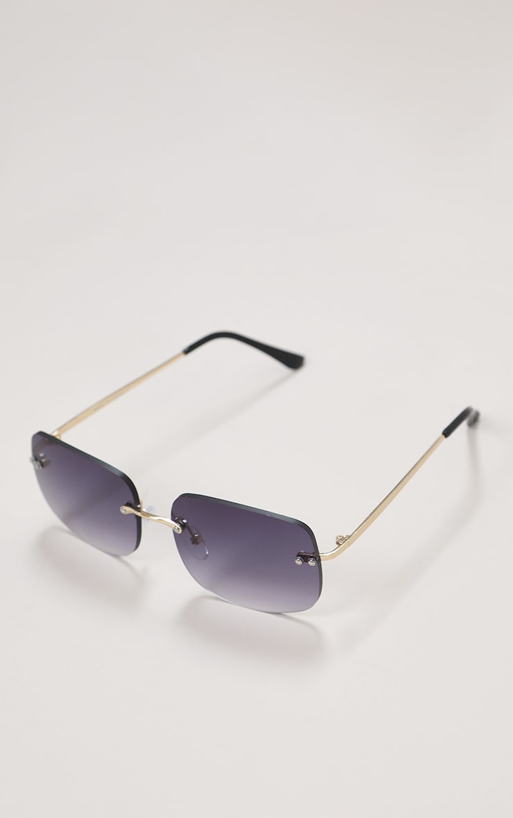 Black Faded Lens Rimless Square Sunglasses 2