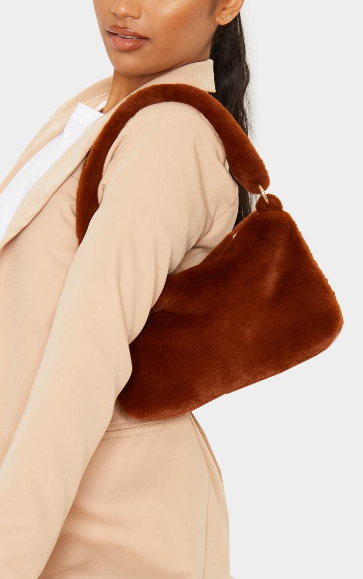 Brown Faux Fur Shoulder Bag 1