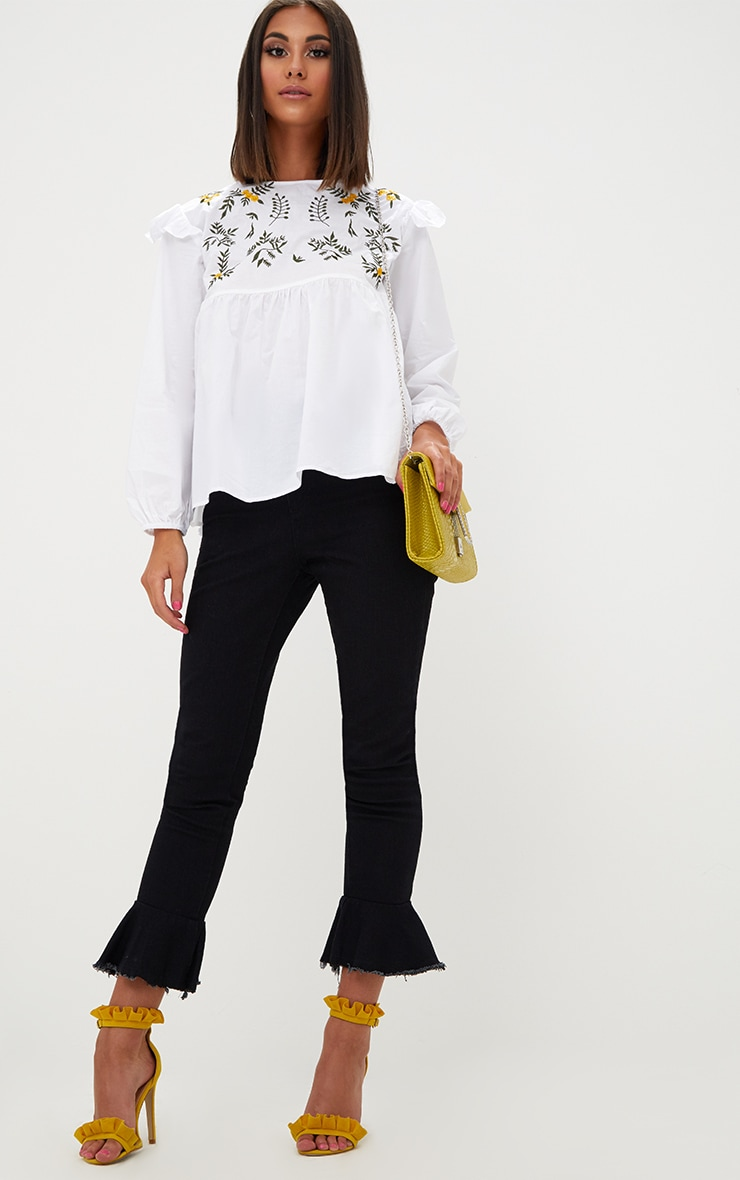 White Embroidered Frill Long Sleeve Shirt  4