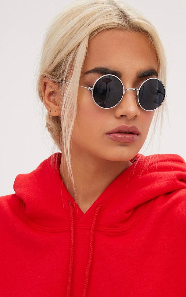 Black Tinted Round Retro Sunglasses 1