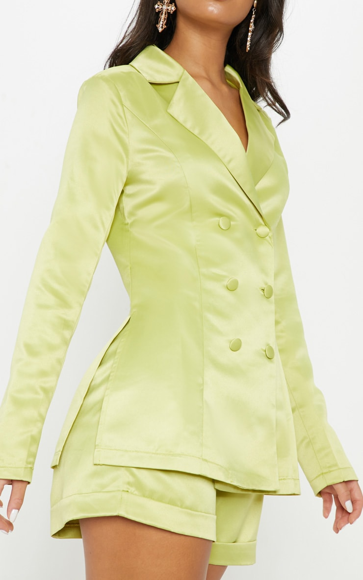 Lime Double Breasted Satin Jacket 5