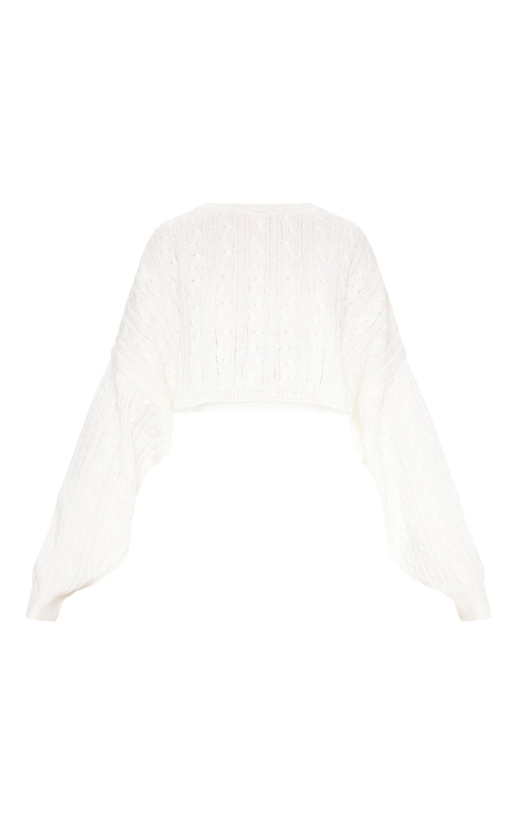 Cream Over sized Crop Knit Sweater 3