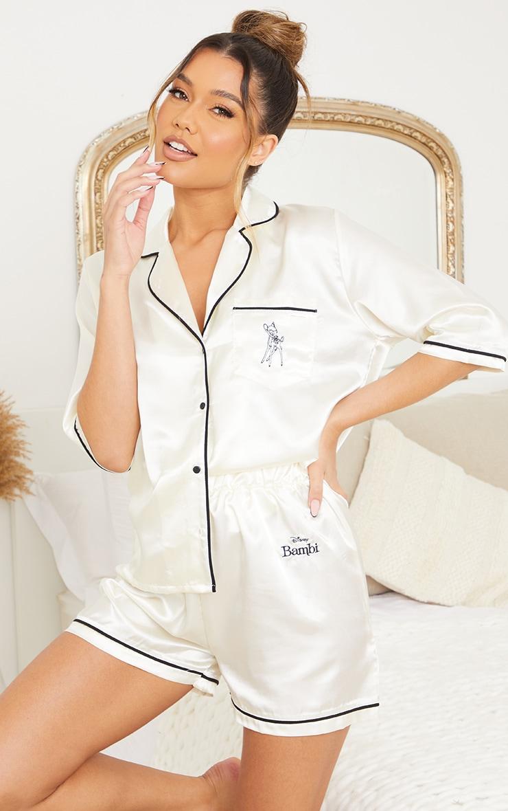 Ivory Disney Bambi Embroidered Button Up Satin Shorts PJ Set 3
