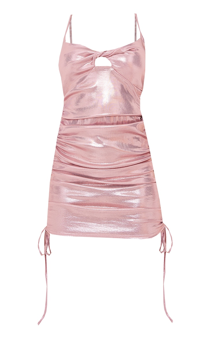 Pink Metallic Slinky Strappy Twist Bust Detail Ruched Bodycon Dress 5