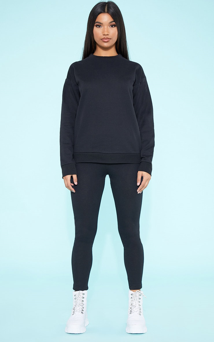 RECYCLED Black Crew Neck Sweater 4