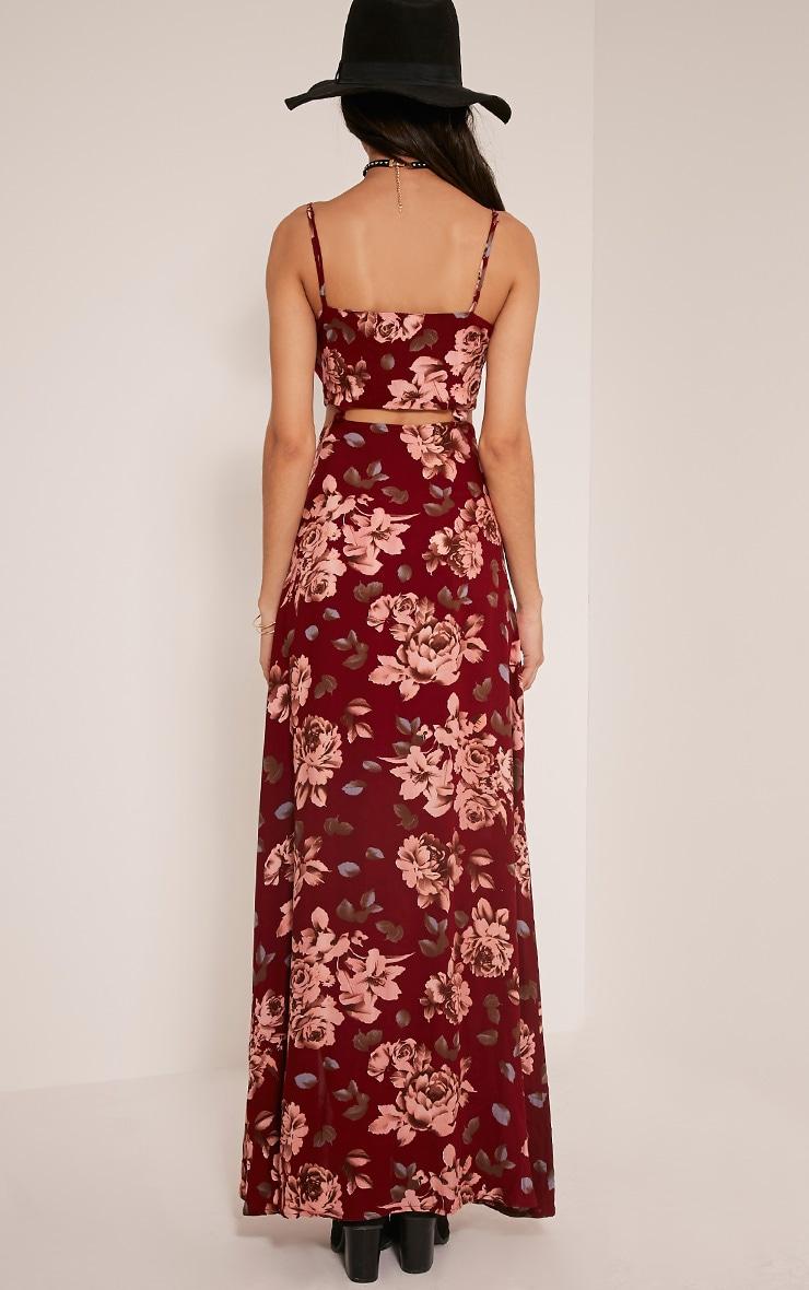 Saleena Burgundy Cut Out Floral Maxi Dress 2