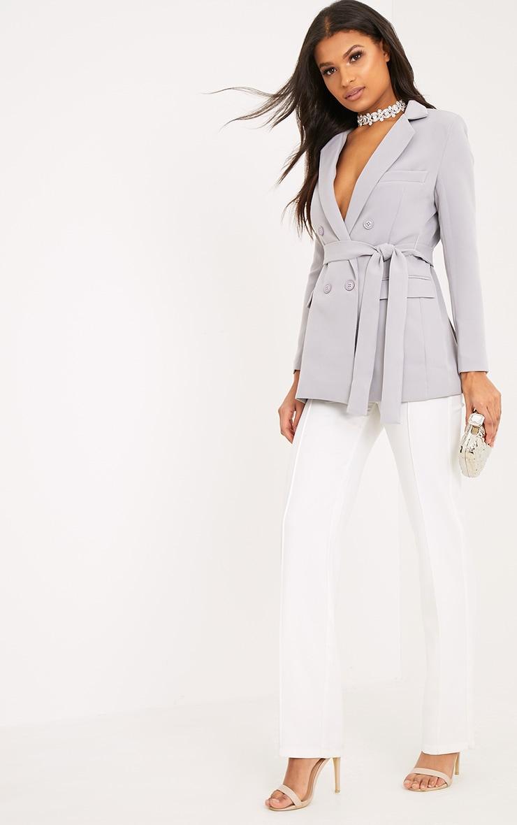Rebecca blazer à ceinture gris clair 4