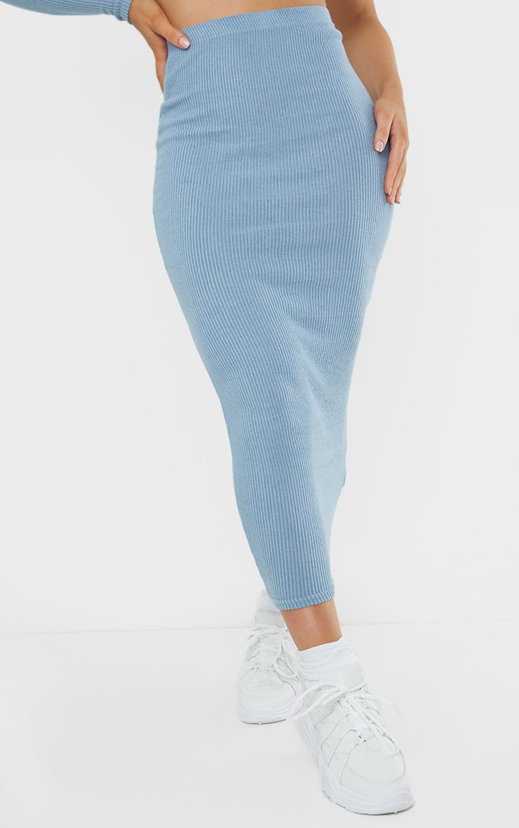 Steel Blue Brushed Rib Midaxi Skirt 2