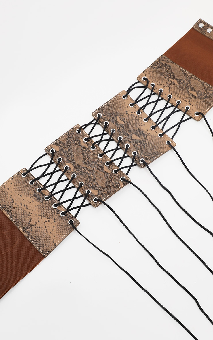 Brown Snake Lace Up Corset Belt  2