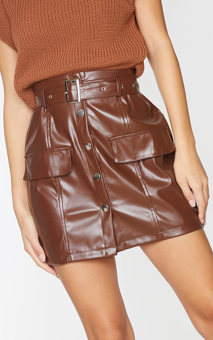 Chocolate Faux Leather Button Through Mini Skirt 5
