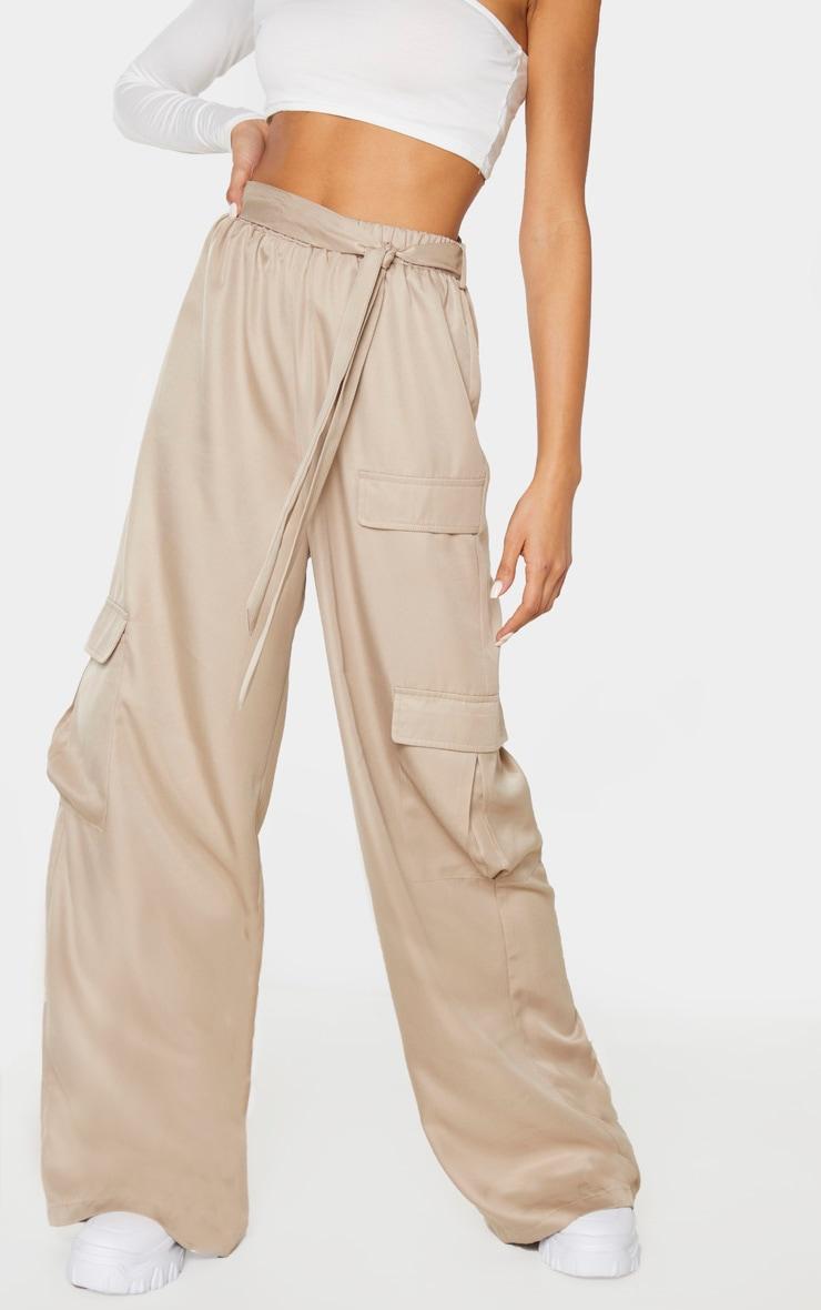 Stone Tie Waist Wide Leg Cargo Pants 2