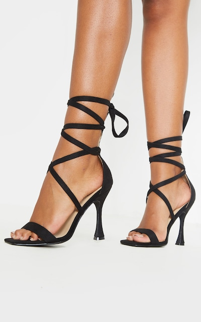 Black Square Toe Asymmetric Heel Strappy Sandal