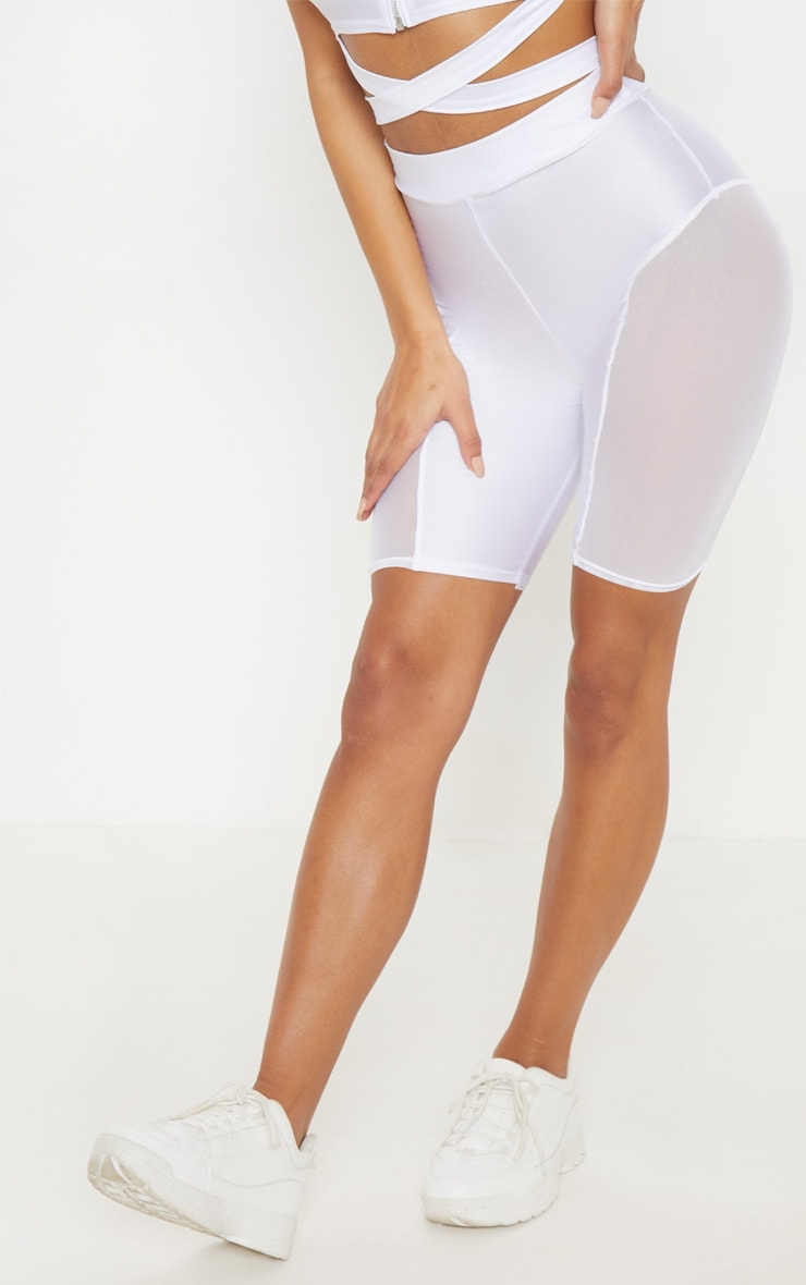 White Mesh Side Panel Cycling Shorts 2