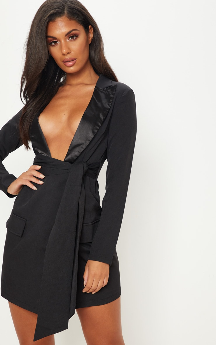 Black Satin Lapel Tie Waist Pocket Detail Blazer Dress 1