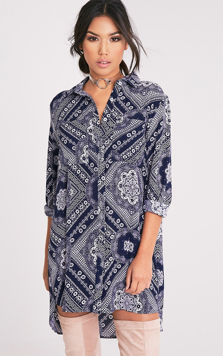 Camille Navy Paisley Print Shirt Dress 1