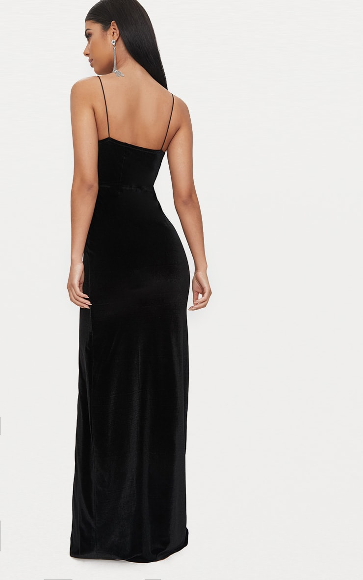 Black Velvet Plunge Strappy Split Detail Maxi Dress 2