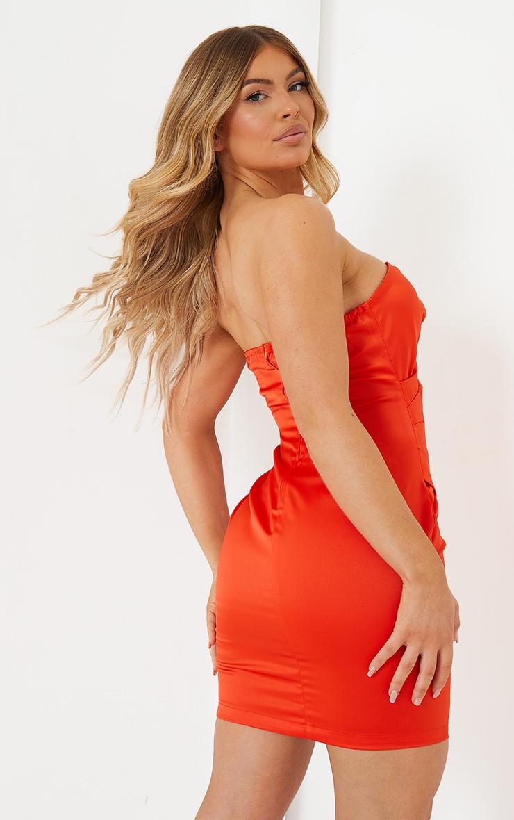 Orange Satin Bandeau Wrap Detail Bodycon Dress 2