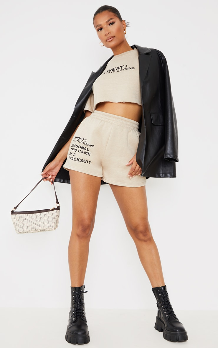 PRETTYLITTLETHING Recycled Stone Printed Sweat Shorts 1