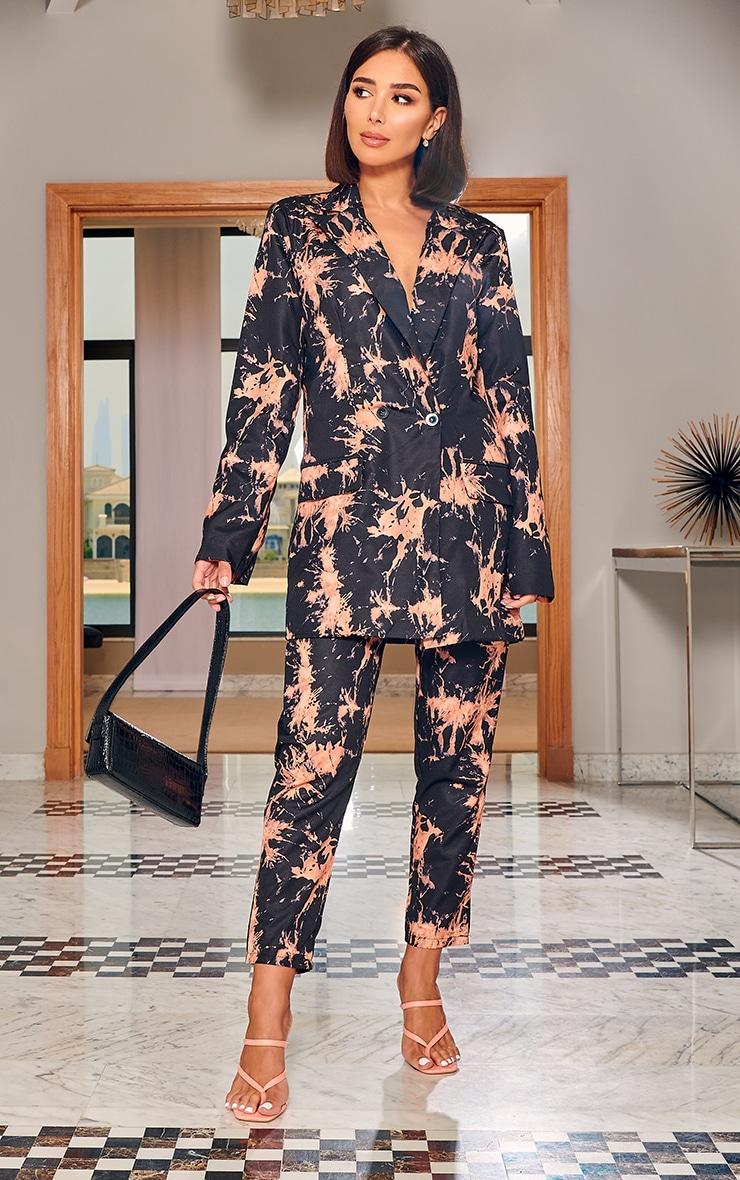 Black Tie Dye Woven High Waisted Straight Leg Pants 1