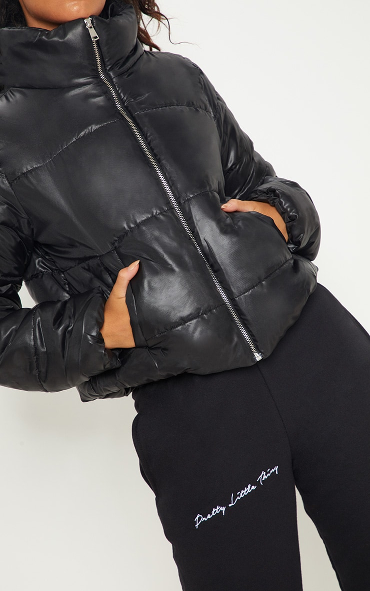 Black High Shine Cropped Puffer Jacket 5