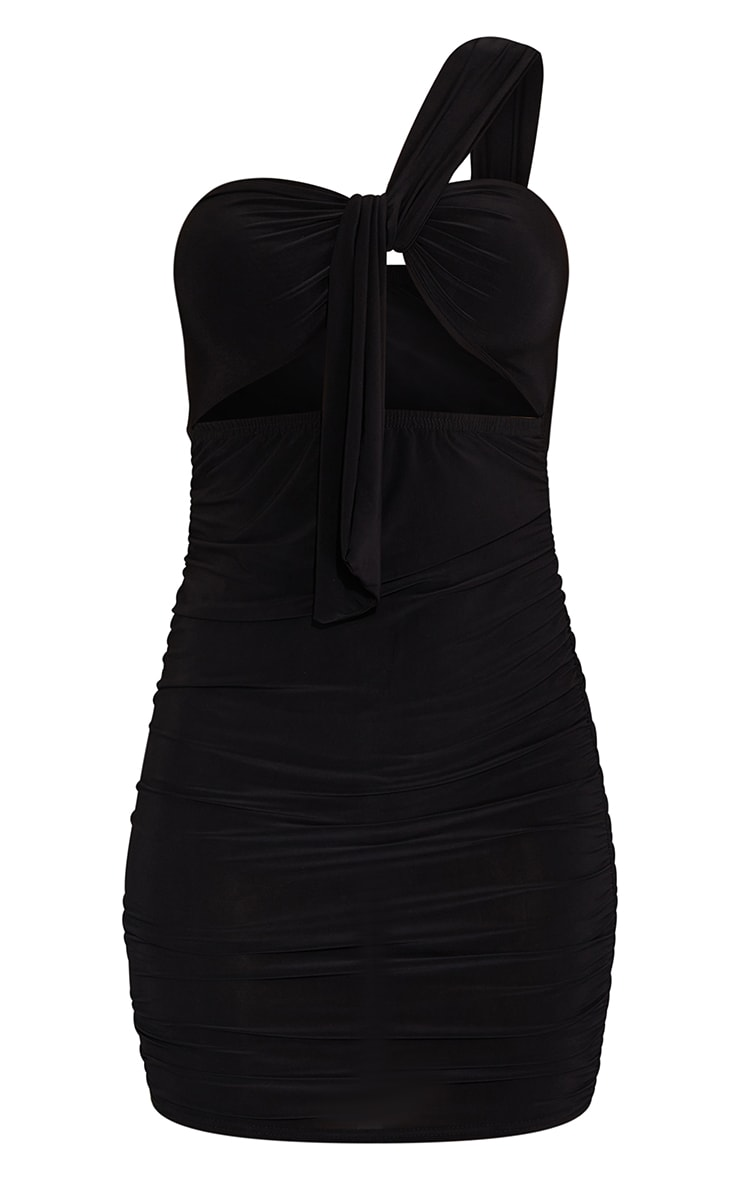 Black Slinky One Shoulder Detail Cut Out Ruched Skirt Bodycon Dress 5