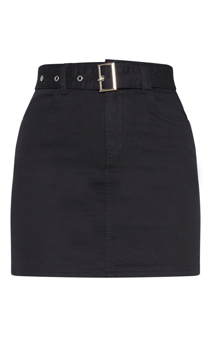 Washed Black Disco Belted Denim Mini Skirt 3
